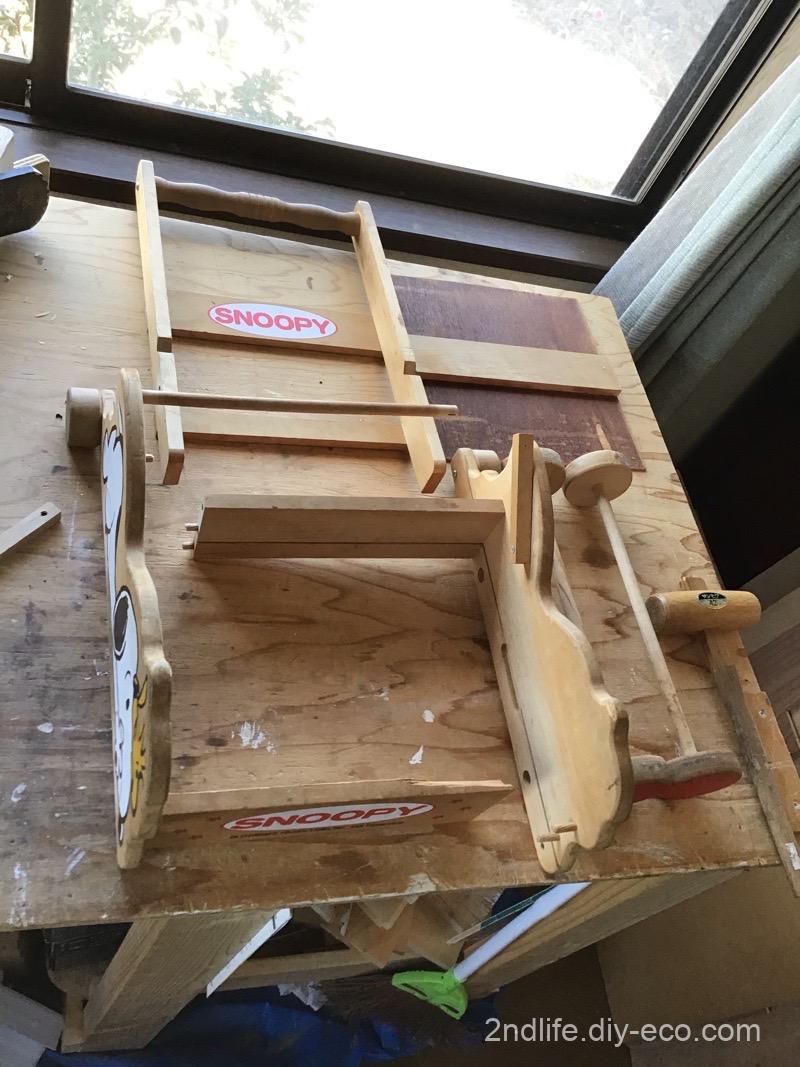 スヌーピーの積み木台車