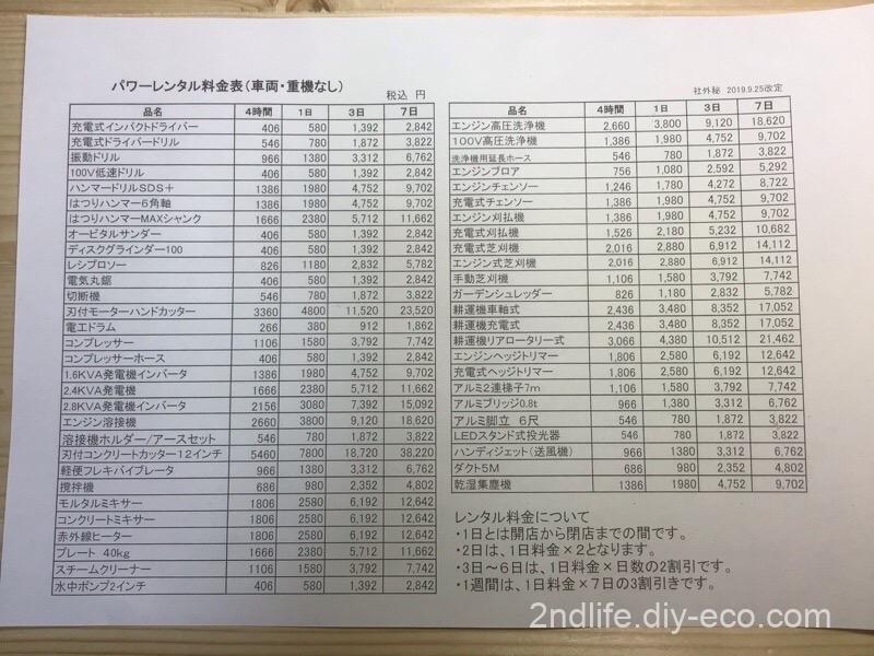 コメリレンタル料金表
