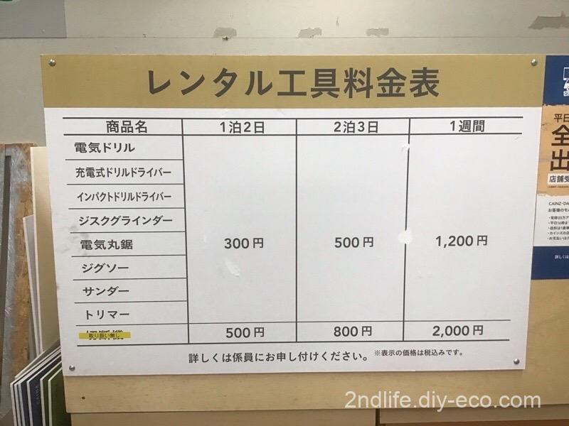 カインズのレンタル工具料金表
